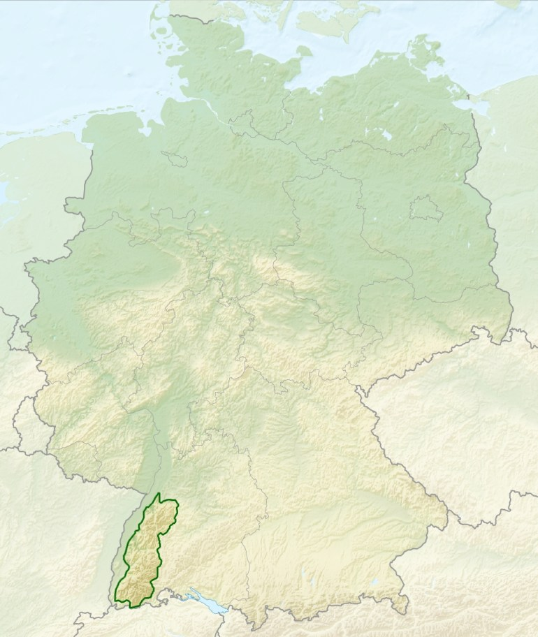 File:relief Map Of Germany, Black Forest - Wikimedia Commons for Black Forest Germany Map