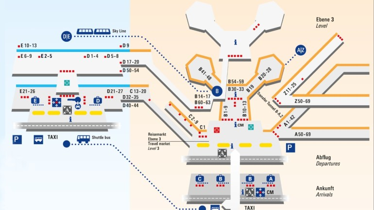 Frankfurt Airport - Terminal Maps inside International Airports In Germany Map