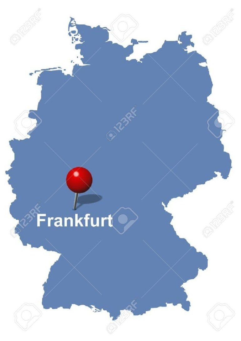 Frankfurt Pictured On The Map Of Germany with regard to Frankfurt Germany Map