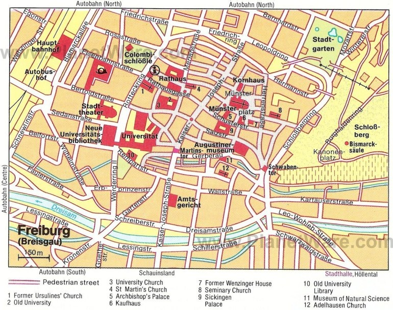 Freiburg Im Breisgau Map - Tourist Attractions   2019 Family Int'l with Freiburg Germany Map