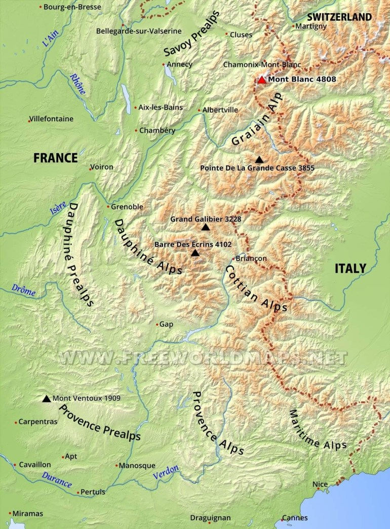 French Alps Physical Map intended for Map Of Alps In Germany