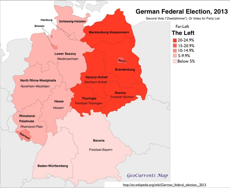 Geographical Patterns In The German Federal Election Of 2013 within Map Of Germany Divided Into East And West
