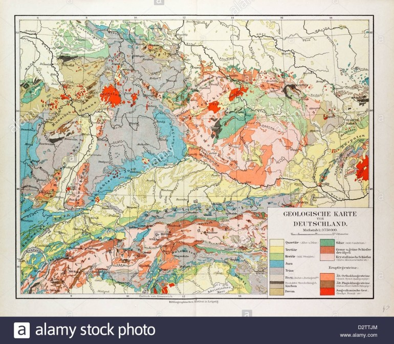 Geological Map Of Germany 1899 Stock Photo: 53406604 - Alamy with Geological Map Of Germany