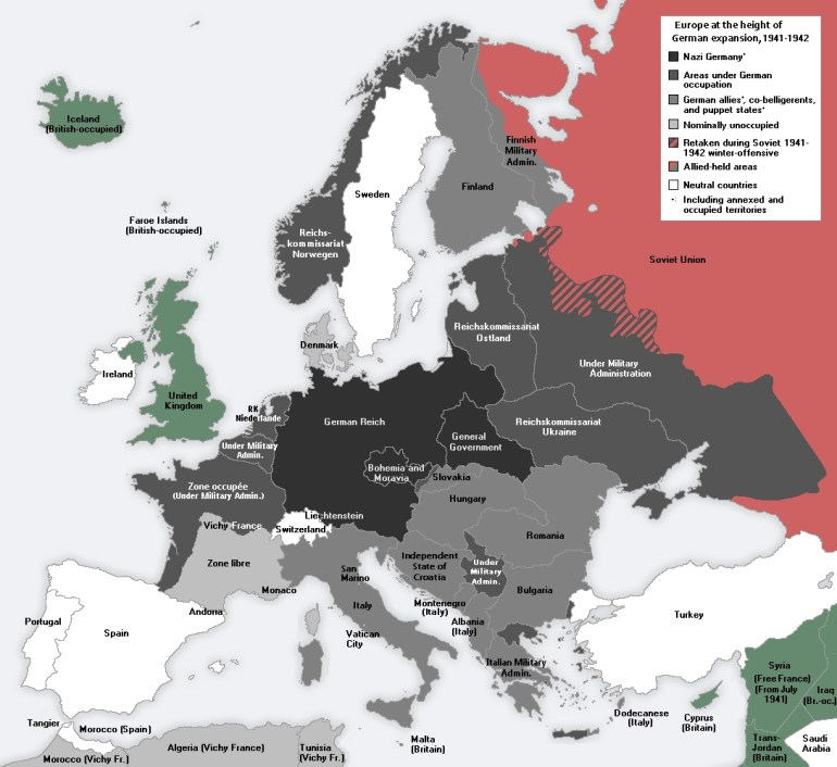 German-Occupied Europe - Wikipedia inside Map Of German Occupied Europe During Ww2