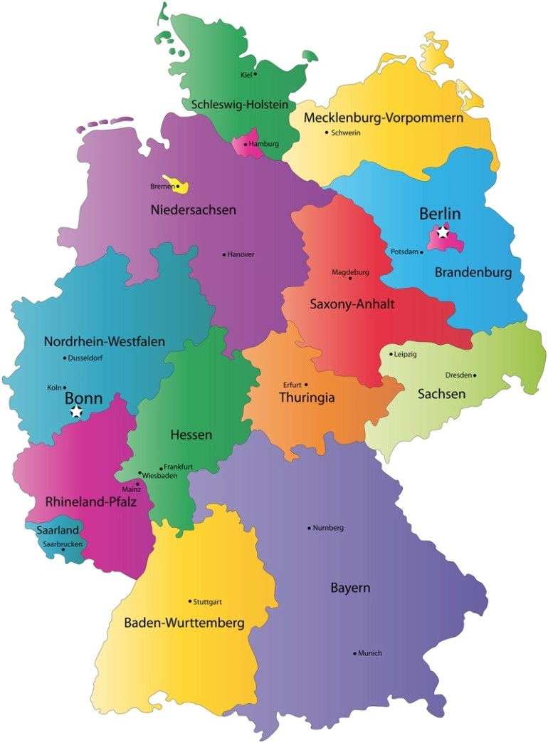 German States And State Capitals Map - States Of Germany with regard to Map Of Germany And Its States