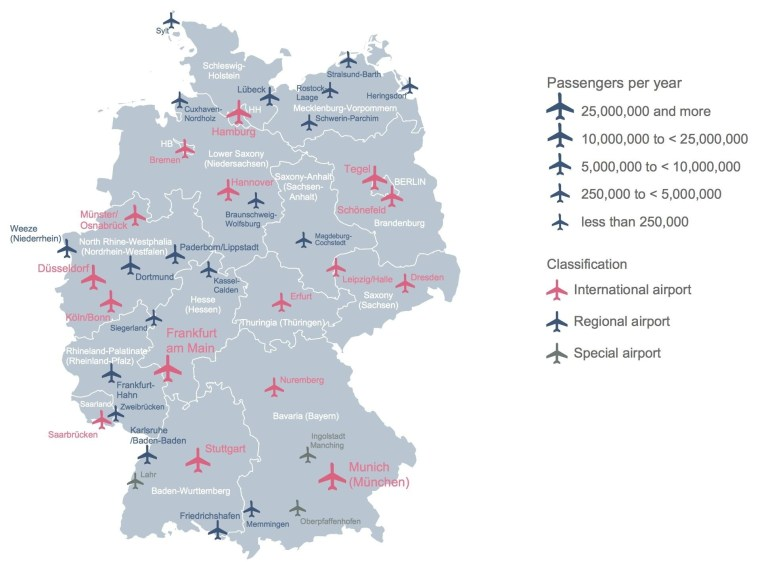Germany Airport Map - Map Of Germany Showing Airports (Western in Frankfurt Germany Europe Map