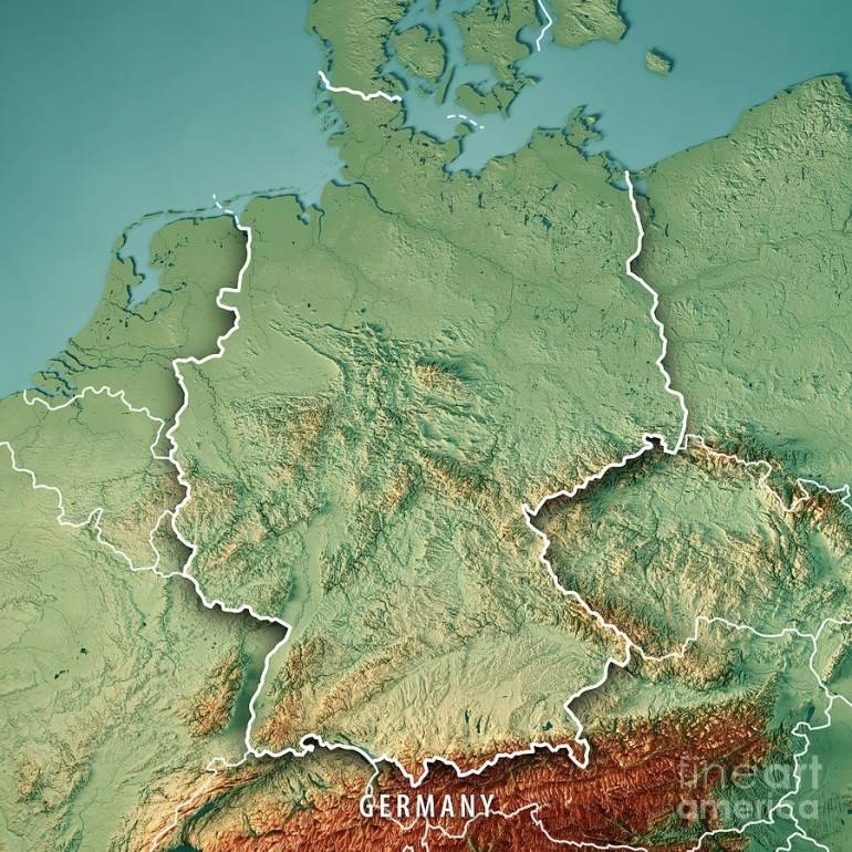 Germany Country 3D Render Topographic Map Borderfrank Ramspott intended for Germany Topographic Map