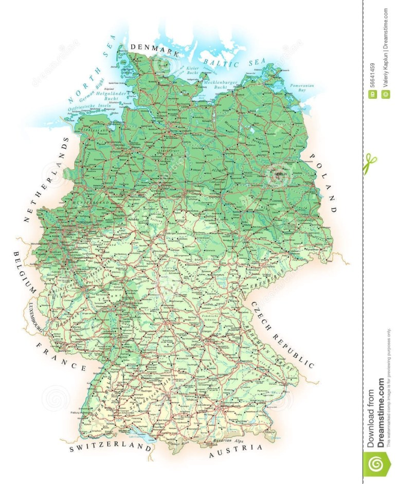 Germany - Detailed Topographic Map - Illustration. Stock Vector throughout Germany Topographic Map