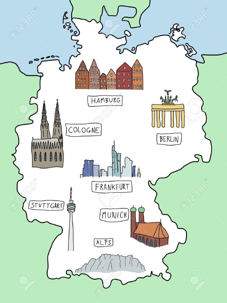 Germany - Doodle Map With Famous Places: Berlin, Hamburg, Cologne,.. intended for Hamburg Germany Map