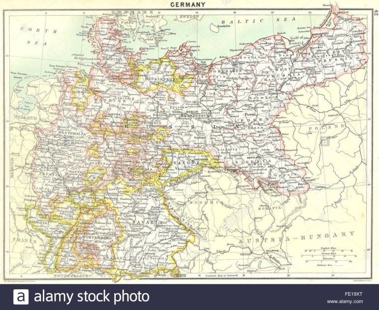 Germany: German Empire, 1900 Antique Map Stock Photo: 94686784 - Alamy for Germany Map In 1900