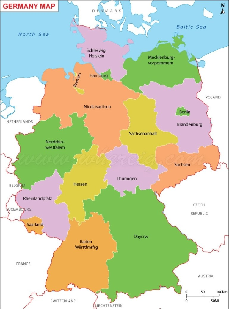 Germany Map (Deutschland-Karte), Map Of Germany, Germany States Map inside Map Of Germany States And Cities
