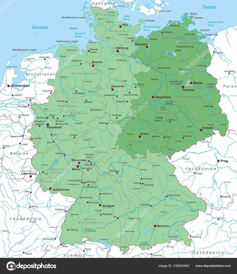 Germany Map East Germany High Detailed — Stock Vector © Ii-Graphics within East West Germany Map