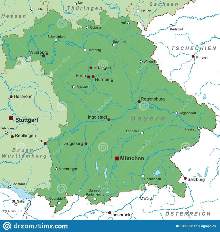 Germany - Map Of Germany - `bayern` - High Detailed Stock with regard to Map Of Germany Showing Dortmund
