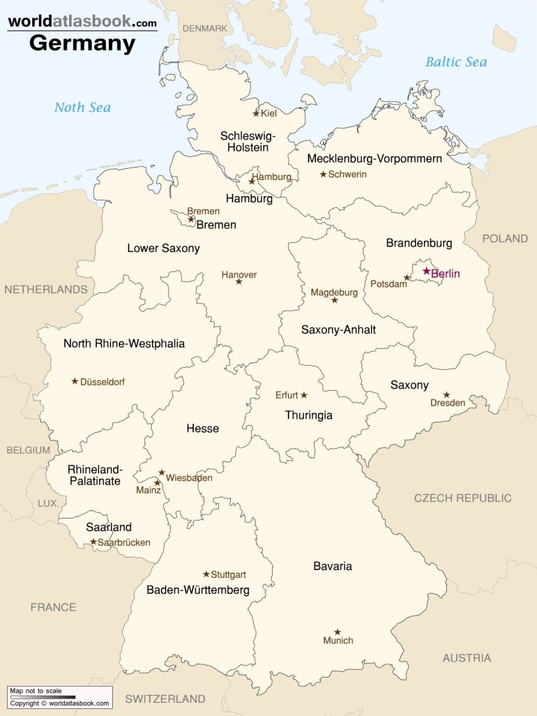 Germany - Map Of States & Capitals | Deutschland | Map, Germany throughout German States And Capitals Map