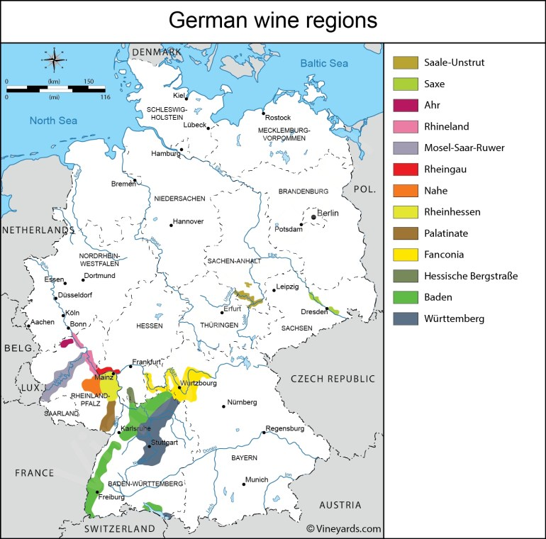 Germany Map Of Vineyards Wine Regions throughout Map German Wine Regions