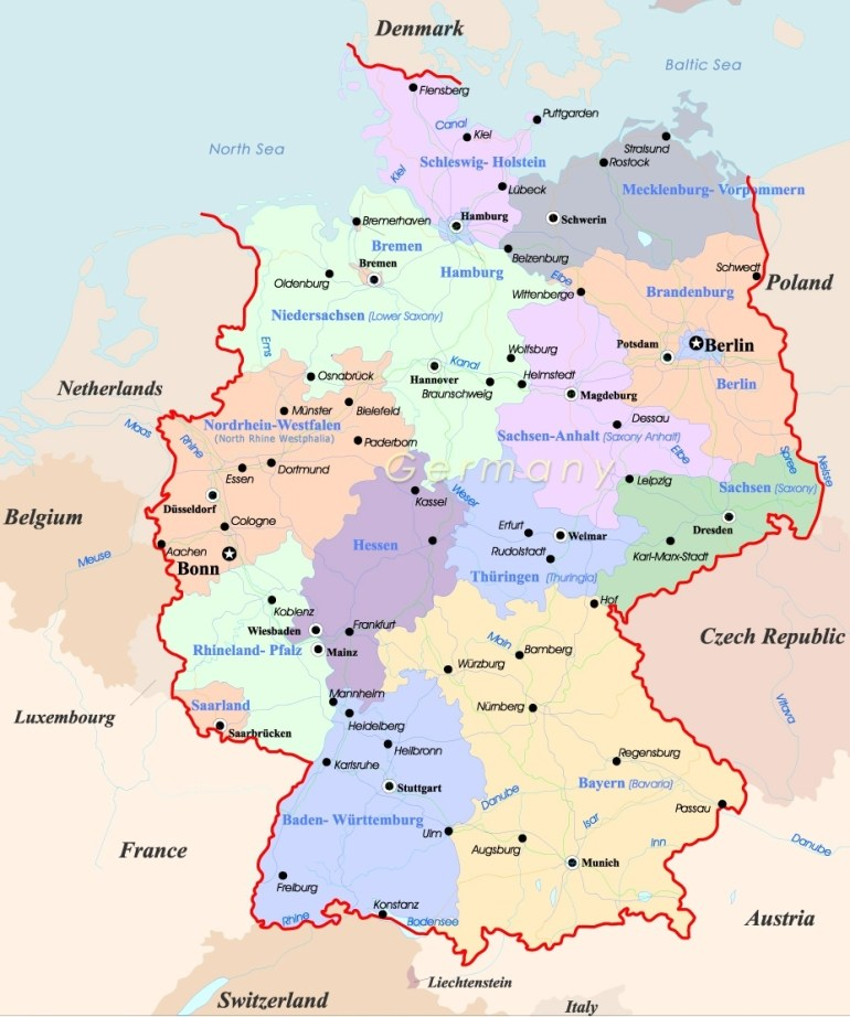 Germany Map - Travel regarding Where Is Germany In Europe Map