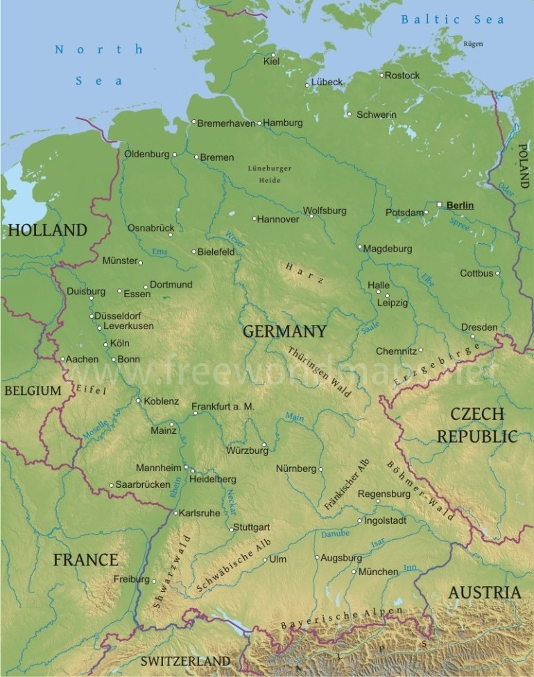 Germany Physical Map with Map Of Alps In Germany