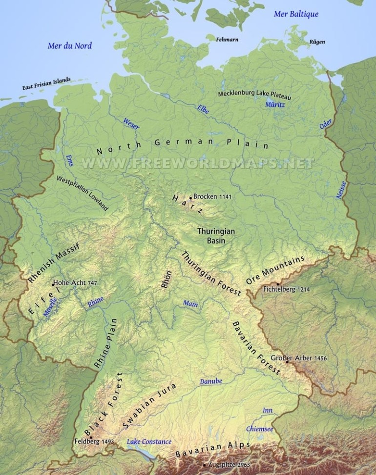 Germany Physical Map within Bavarian Alps Germany Map