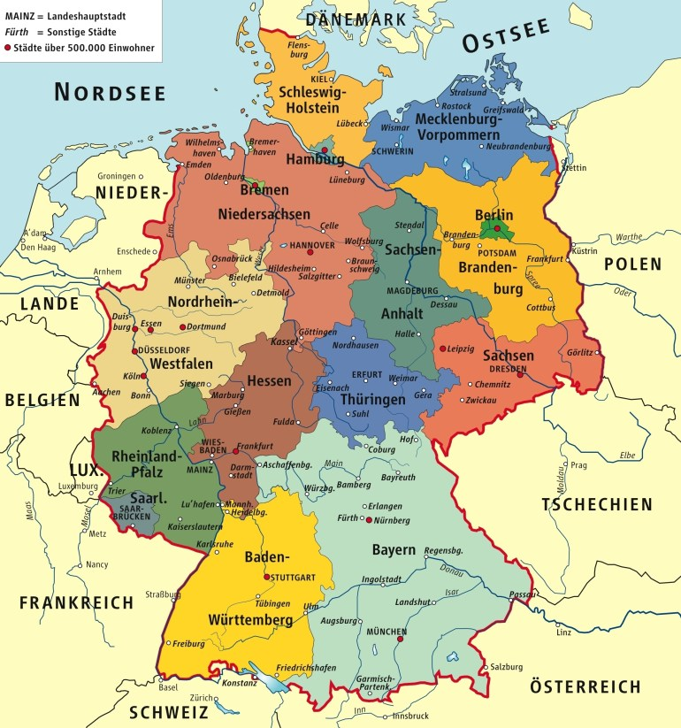 Germany Political Map for Political Map Of Germany In English