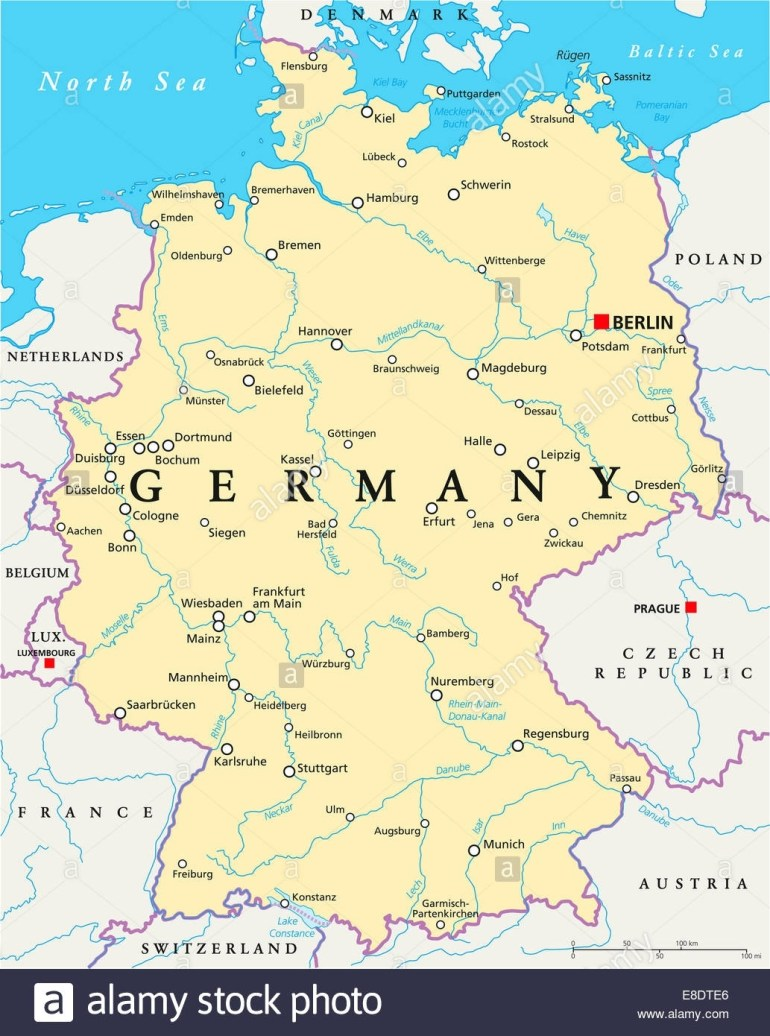 Germany Political Map With Capital Berlin, National Borders, Most inside Map Of Germany With Cities In English