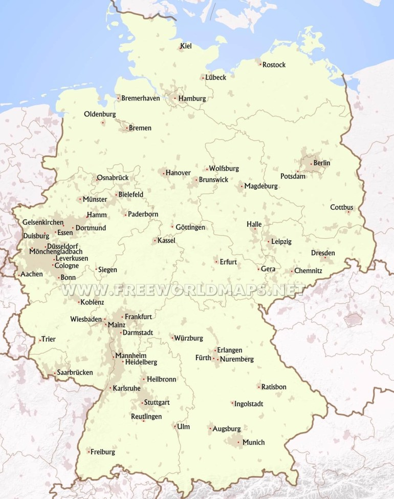Germany Political Map with regard to Map Of Germany With Major Cities