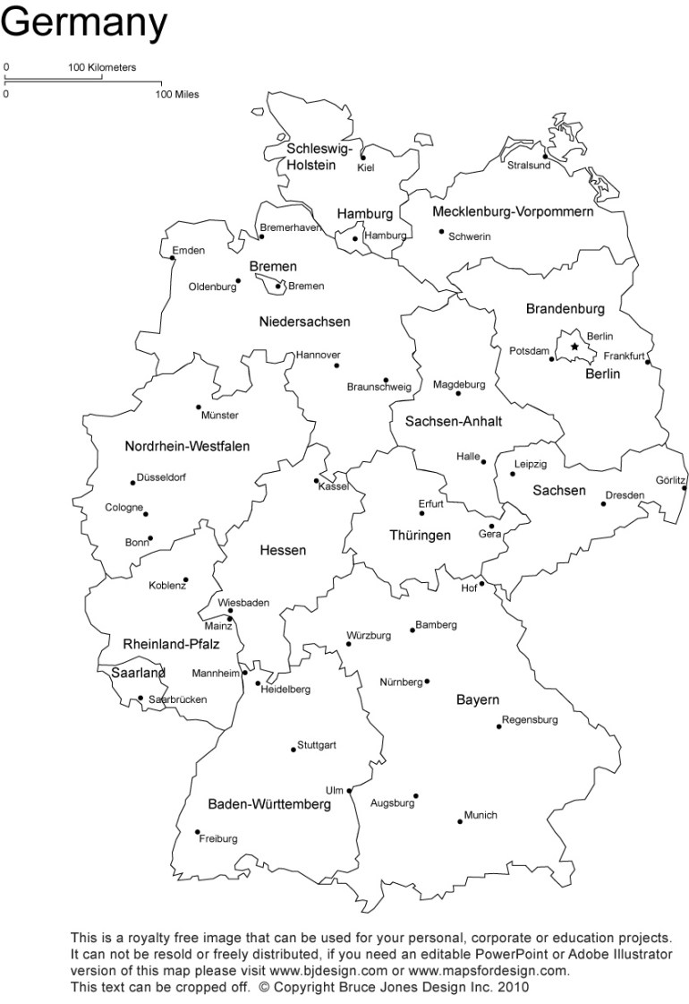 Germany Printable, Blank Maps, Outline Maps • Royalty Free intended for Germany Outline Map With Cities
