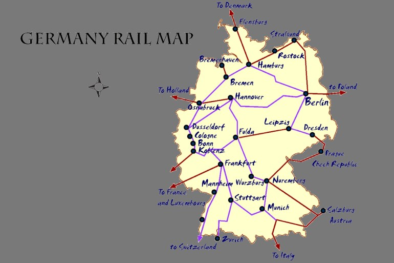 Germany Rail Map And Transportation Guide for Heidelberg Germany Train Station Map