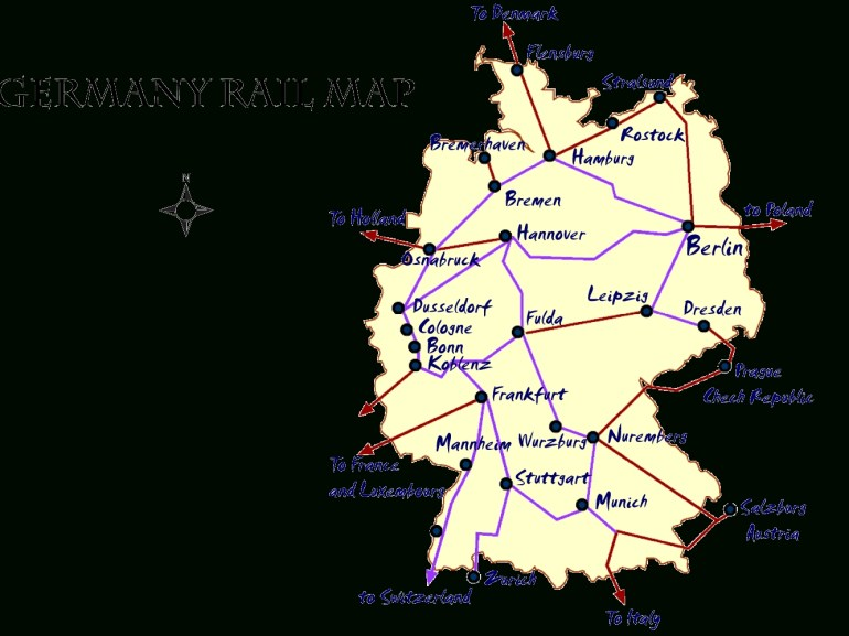 Germany Rail Map And Transportation Guide inside Map Of Germany Train Routes