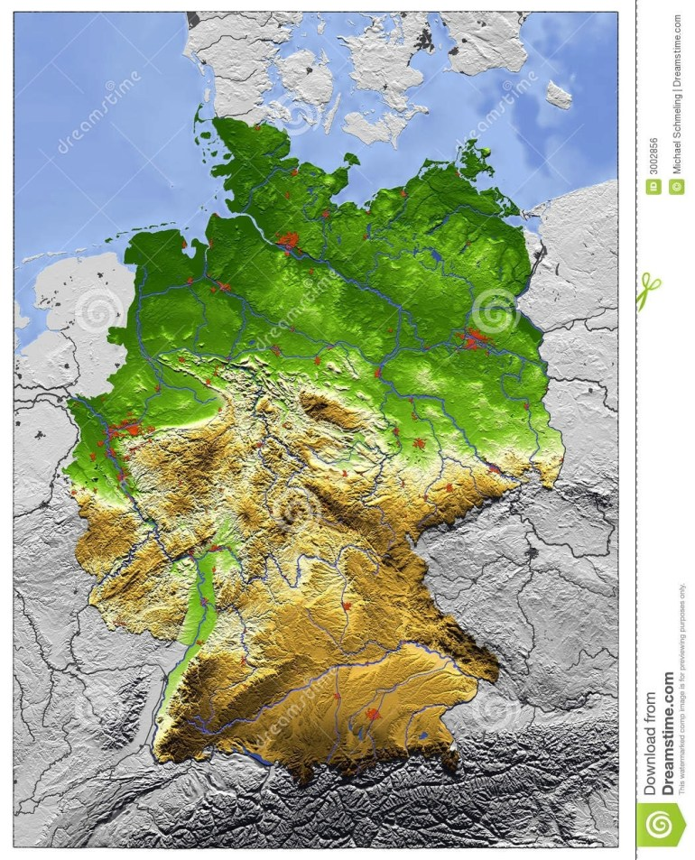 Germany, Relief Map Stock Illustration. Illustration Of Europe - 3002856 in Topographic Map Of Germany In English