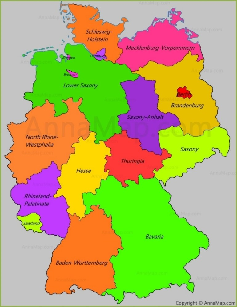 Germany States Map | States Of Germany - Annamap regarding Map Of Germany And Its States