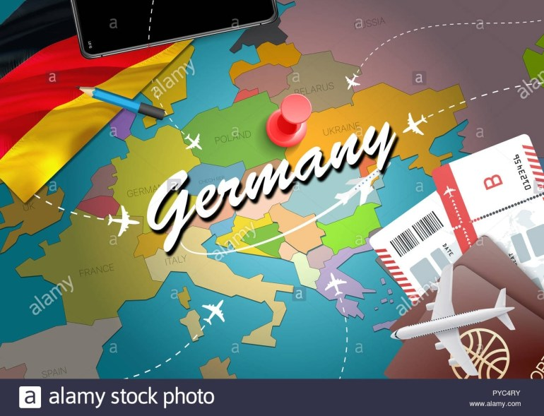 Germany Travel Concept Map Background With Planes, Tickets. Visit for Germany Map Tourist Destinations