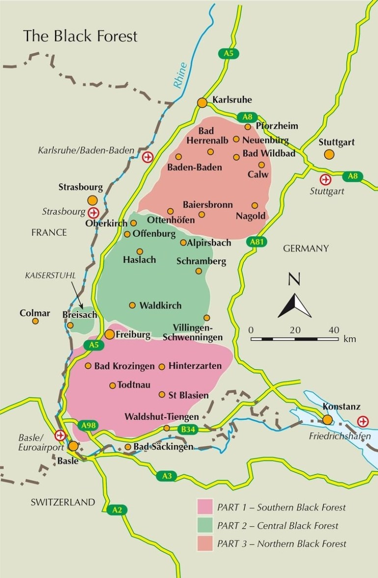 Guiding To Walking, Trekking And Biking In The Black Forest - Cicerone throughout Black Forest Germany Map