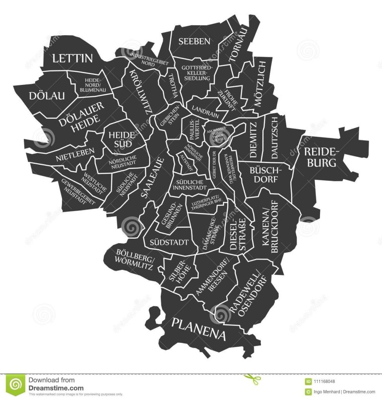 Halle City Map Germany De Labelled Black Illustration Stock Vector for Halle In Germany Map