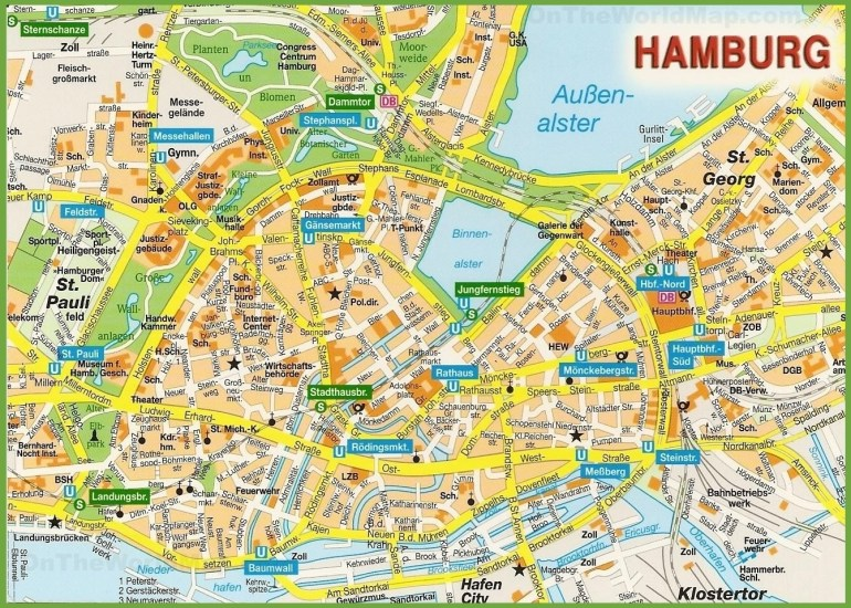 Hamburg City Centre Map intended for Hamburg Germany Map