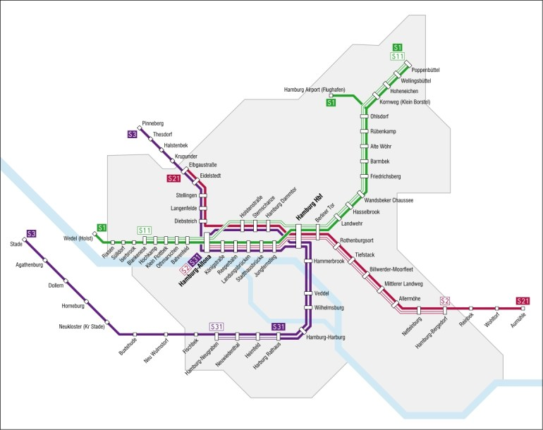 Hamburg S-Bahn — Map, Lines, Route, Hours, Tickets in Hamburg Germany Train Map