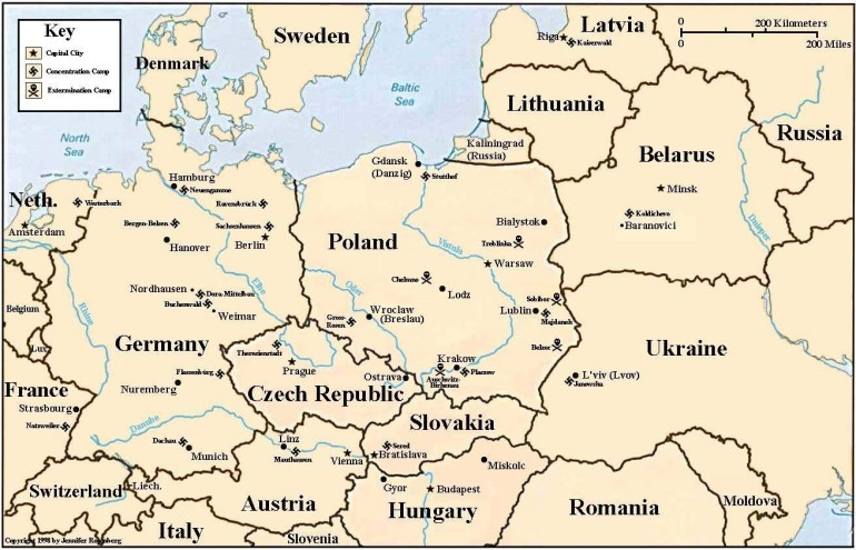 Holocaust Map Of Concentration And Death Camps pertaining to German Concentration Camps Map