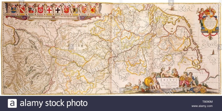 Joan Blaeu, Rhine River Map,17Th Century Stock Photo: 245869476 - Alamy in Rhine River Germany Map