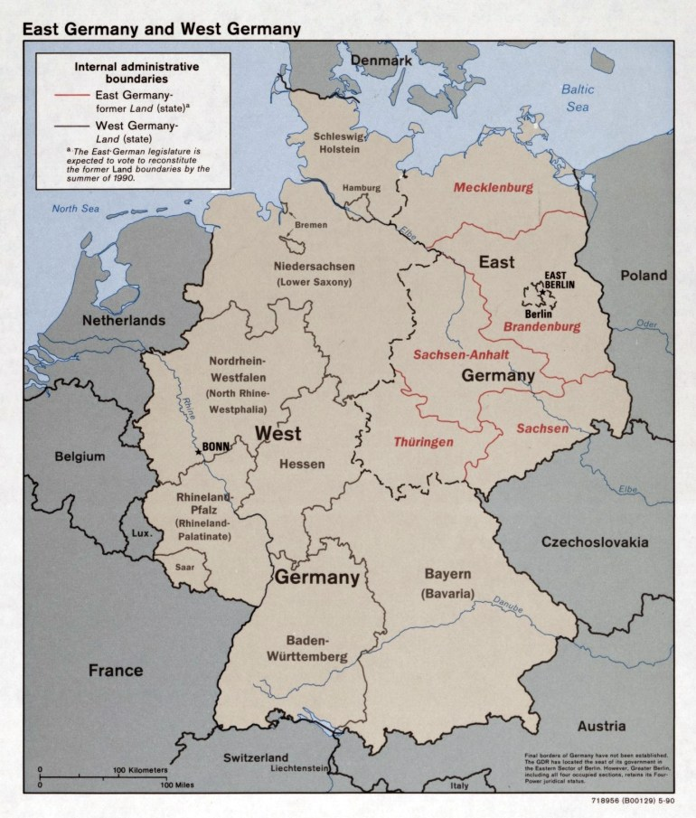 Large Detailed Political And Administrative Map Of East Germany And intended for East West Germany Map