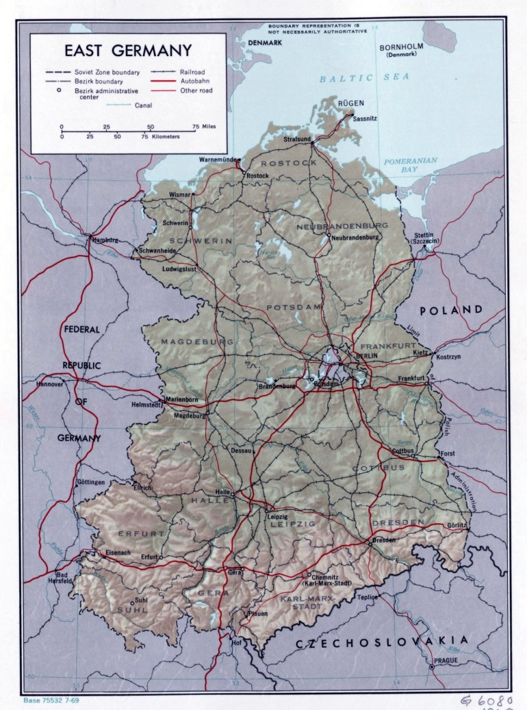 Large Political And Administrative Map Of East Germany With Relief for Detailed Map Of East Germany