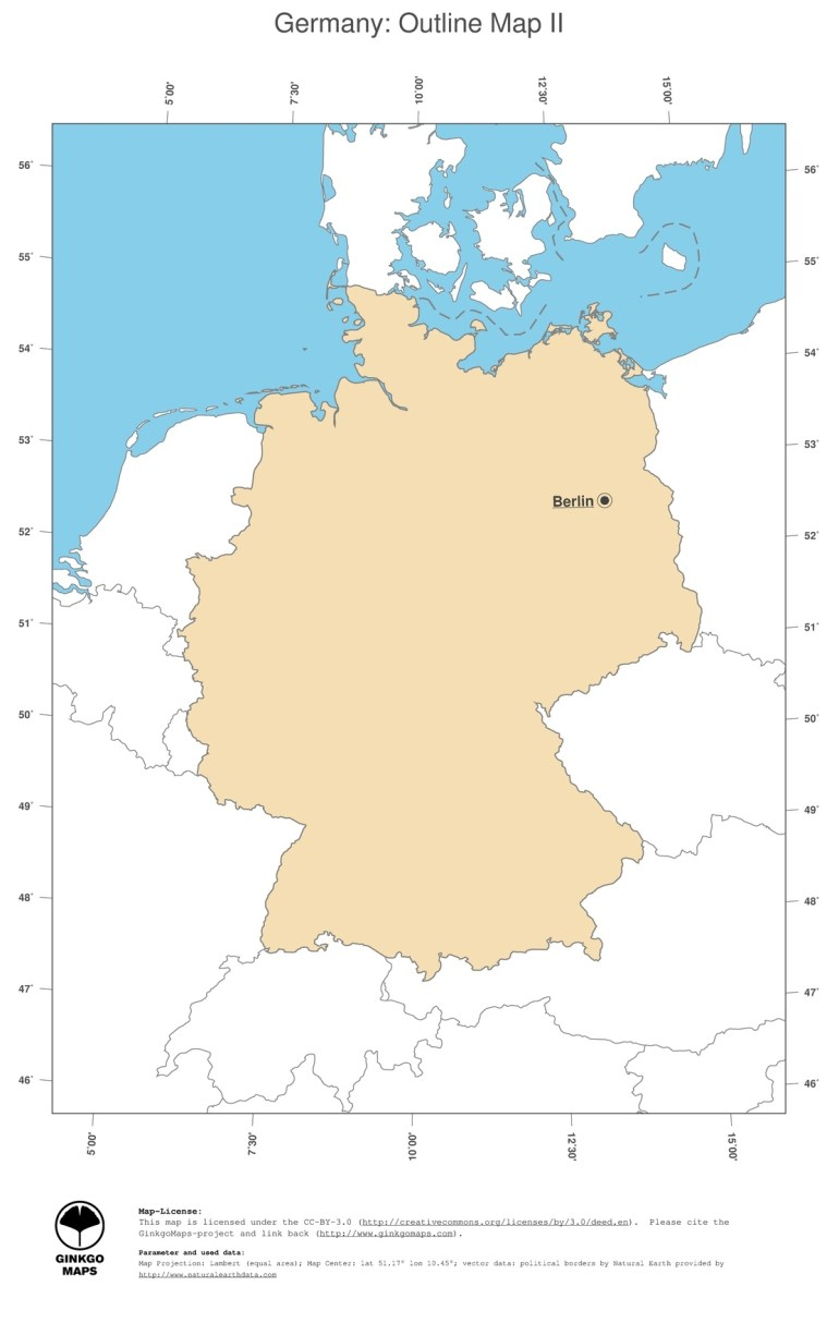 Map Germany; Ginkgomaps Continent: Europe; Region: Germany within Outline Map Of Germany And Surrounding Countries