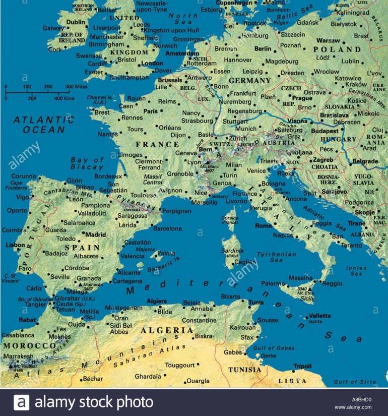 Map Maps Europe Algeria Tunesia North Africa Spain Portugal France with Map Of France Germany And Italy