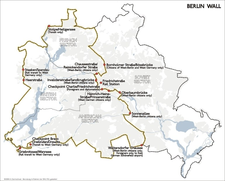 Map Of Berlin Wall Location intended for East Germany Berlin Wall Map
