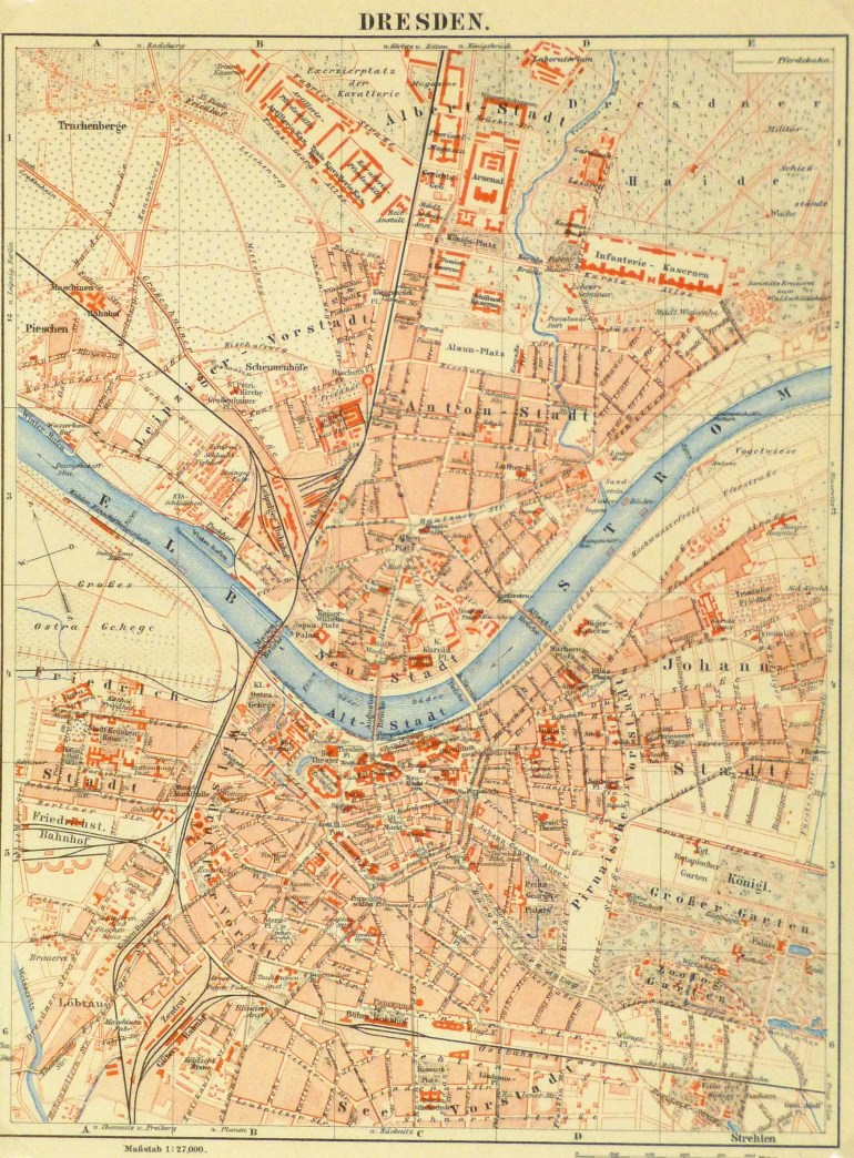 Map Of Dresden Germany, Circa 1885 - Original Art, Antique Maps & Prints throughout Dresden Germany Map