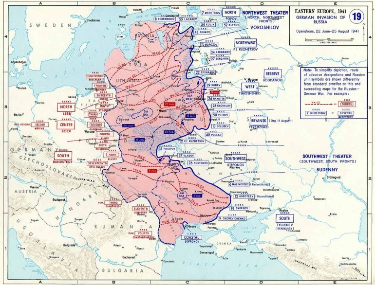 Map Of German Invasion Of Russia (June-August 1941) in German Invasion Of Europe Map