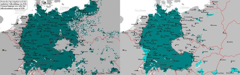 Map Of German-Speaking Areas In 1910 And After 1945 : Mapporn with Map Of Germany Pre Ww1