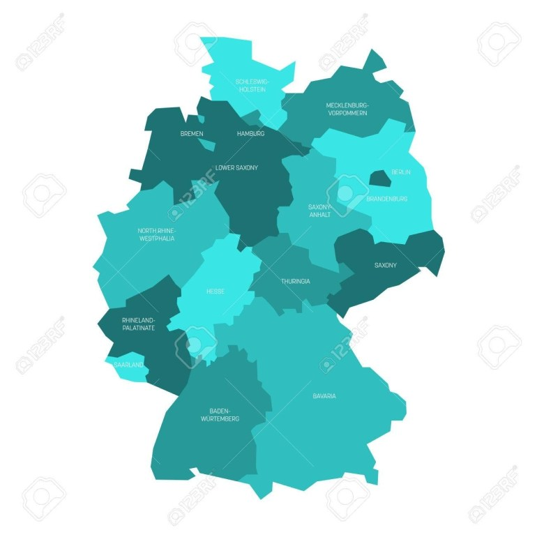Map Of Germany Devided To 13 Federal States And 3 City-States.. for Hamburg Germany Map Europe