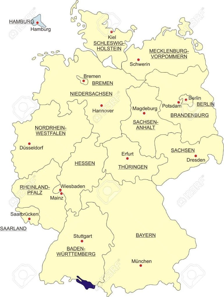 Map Of Germany, National Boundaries And National Capitals. State.. with Hamburg Germany Map