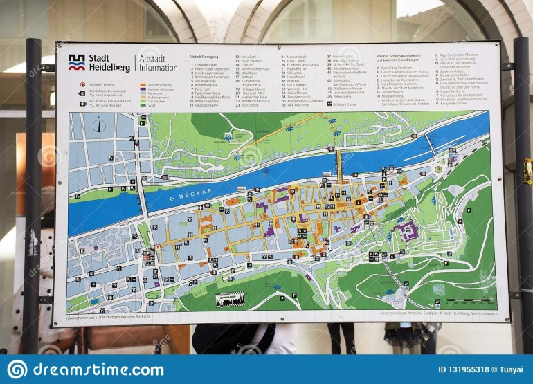 Map Of Landmarks Of Heidelberger Old Town For Tour At in Heidelberg In Germany Map