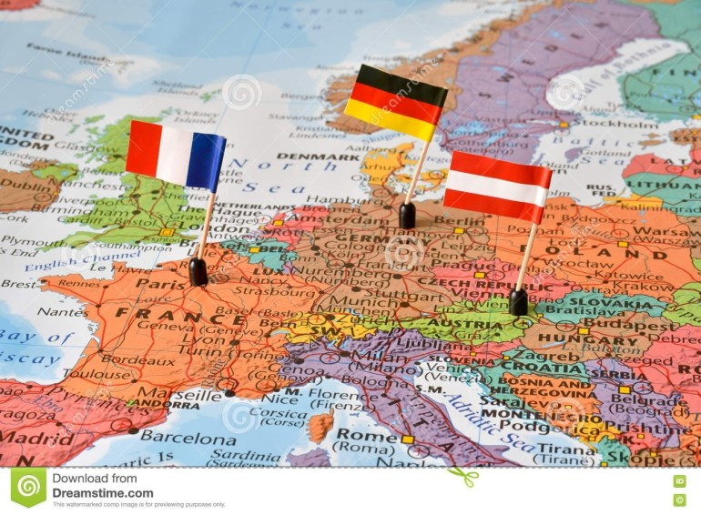 Map Of The Western Europe Countries Germany, France, Austria Stock within Map Of France Germany And Austria