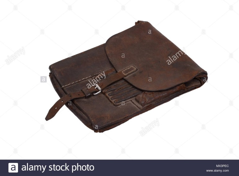 Military Leather Map-Case Of The German Officer Isolated On White regarding German Leather Map Case